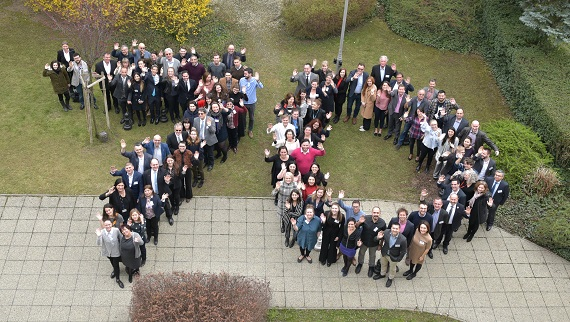 "Photograph of the CMJ members making a human ""70"" to celebrate the Council of Europe's 70th anniversary"