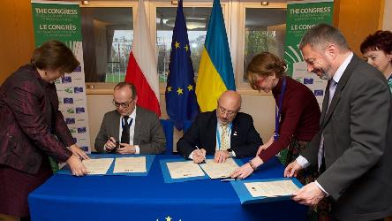 Polish and Ukrainian Delegations to the Congress: Signature of a Joint Declaration Adoption on co-operation consistent with the values of the European Charter of Local Self-Government