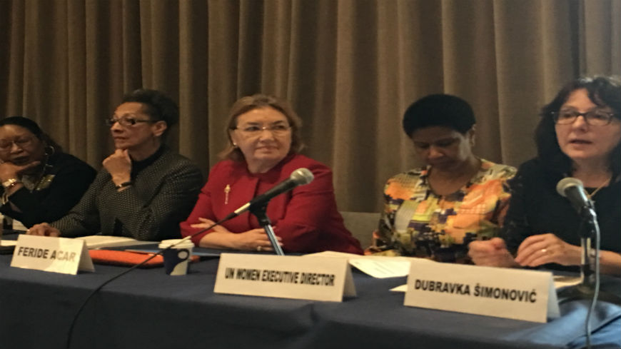 GREVIO President Feride Acar at the CSW62 High Level Panel on Institutional Cooperation between Independent Mechanisms on violence against women