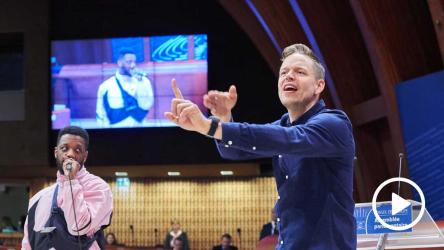World's best known deaf rapper Signmark at the Council of Europe