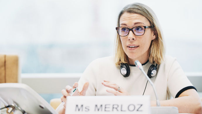 Presentation of Ms Florence Merloz, Chair of the Council of Europe Drafting Group on the place of the European Convention on Human Rights in the European and International Legal Order (DH-SYSC-II), during the 55th meeting of the CAHDI