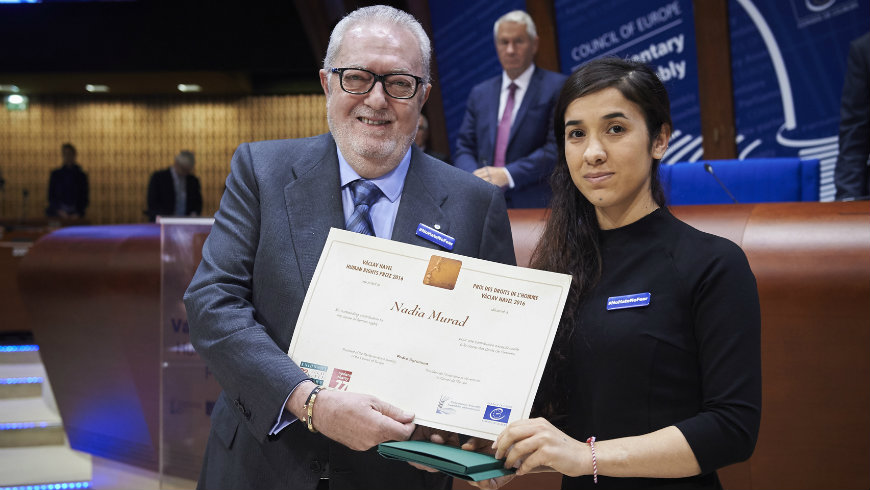 Pedro Agramunt and Nadia Murad