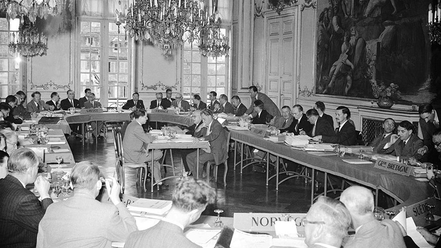 First meeting of the Committee of Ministers of the Council of Europe on 8 August 1949 at the Strasbourg City Hall