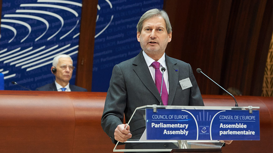 EU and Council of Europe should combine strengths in a 'strategic partnership', said Commissioner Hahn