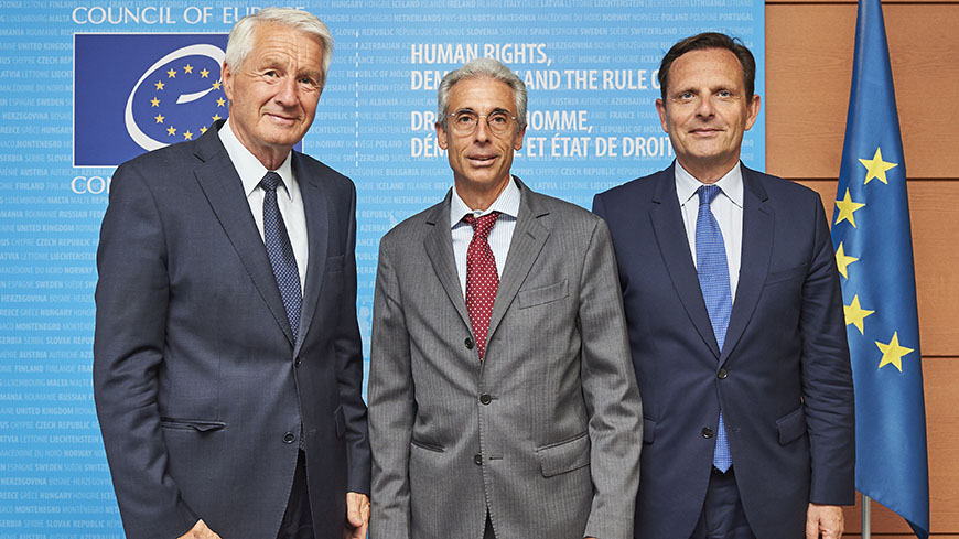 Secretary General, Thorbjørn Jagland, President of the European Committee of Social Rights, Giuseppe Palmisano and French Ambassador Jean-Baptiste Mattéi