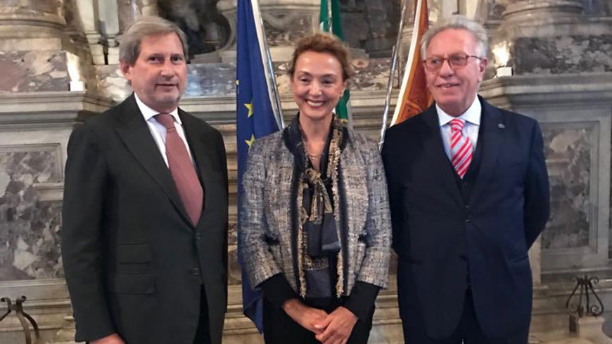 EU Commissioner Johannes Hahn, Council of Europe Secretary General Marija Pejčinović Burić and Venice Commission President Gianni Buquicchio