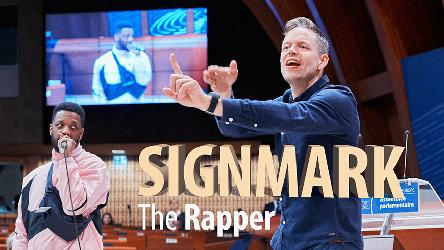 Finnish deaf rap artist Signmark performs for PACE
