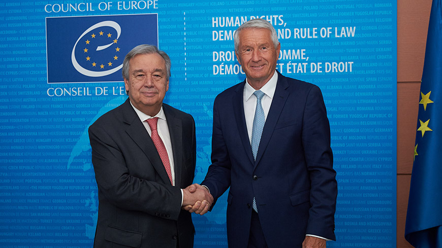 United Nations Secretary General António Guterres meets Thorbjørn Jagland