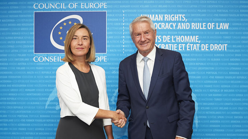 EU High Representative Mogherini in exchange of views with Committee of Ministers, Secretary General Jagland