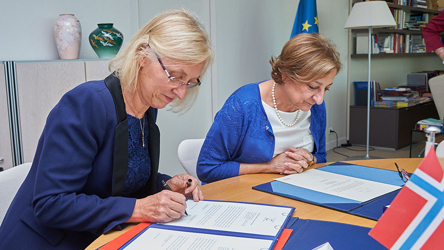 Ratification ceremony in Strasbourg: Astrid Helle Emilie, Ambassador and Permanent Representative of Norway to the Council of Europe, with Gabriella Battaini-Dragoni, Deputy Secretary General of the Council of Europe