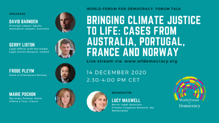 Bringing climate justice to life: Cases from Australia, Portugal, France and Norway