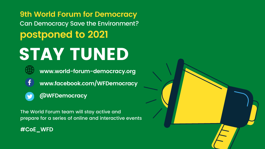 9th World Forum for Democracy is postponed