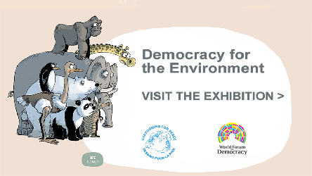 Exhibition of Cartooning for Peace in partnership with the World Forum for Democracy