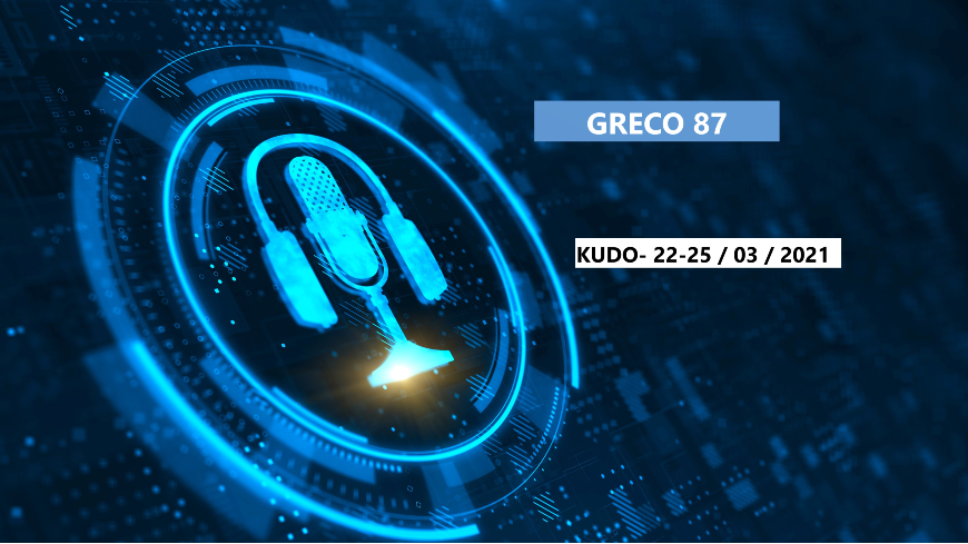87th Plenary Meeting of GRECO (22-25 March 2021)