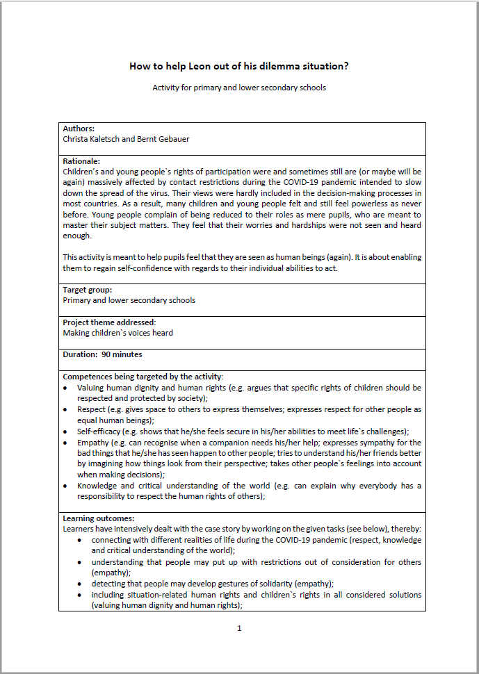 Screenshot of the first page of this activity for primary and lower secondary schools