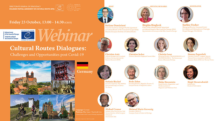 "Germany - Live webinars: ""Cultural Routes Dialogues: challenges and opportunities post Covid-19"""