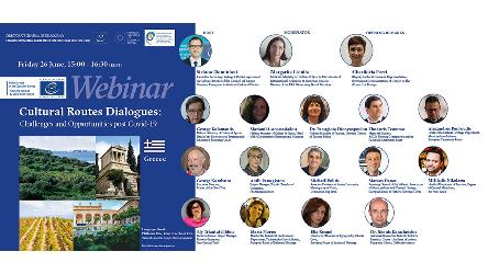 "Greece - Live webinars: ""Cultural Routes Dialogues: challenges and opportunities post Covid-19"""