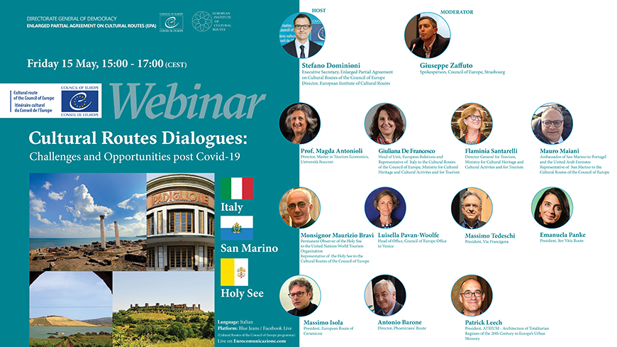 "Live webinars: ""Cultural Routes Dialogues: challenges and opportunities post Covid-19"" - 2. Italy, San Marino and the Holy See"