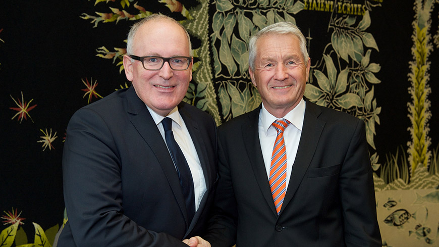 Frans Timmermans and Thorbjørn Jagland
