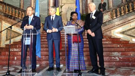 Secretary General Jagland, UN's Ban Ki-moon and Belgian Deputy PM Reynders join forces against genocide