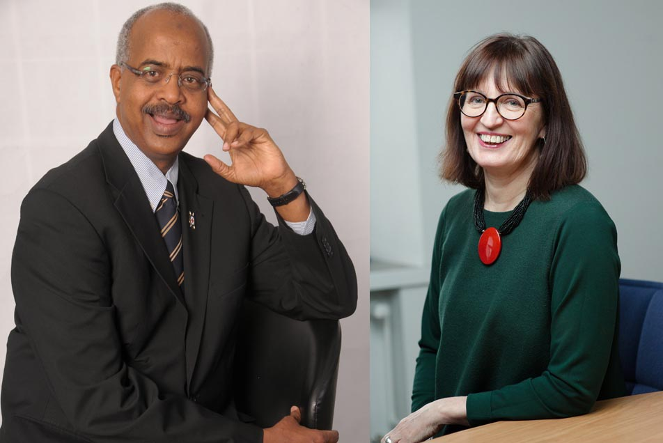 North-South Prize laureates 2017 Dr. Abbas Gullet, Secretary General of the Kenya Red Cross Society and Ms Kristiina Kumpula, Secretary General of the Finnish Red Cross
