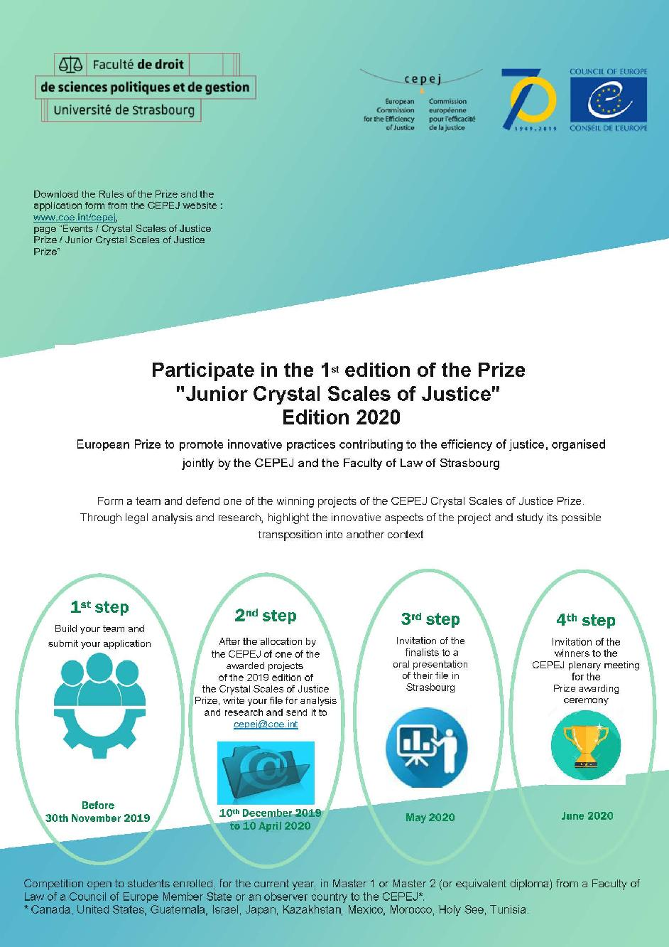 "Launch of the 1st edition of the ""Junior Crystal Scales of Justice"" prize - 2020 edition"