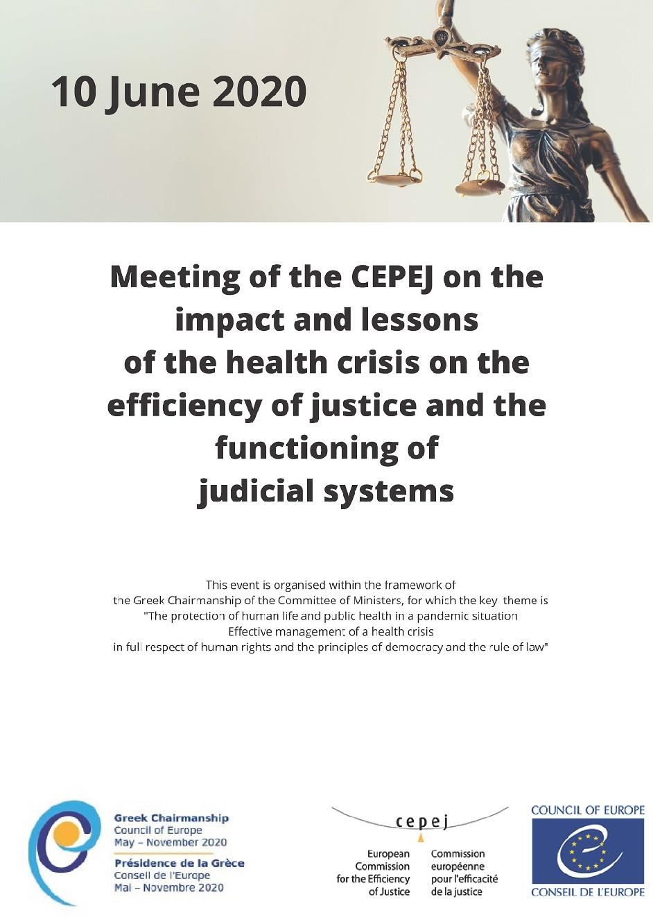 Exceptional meeting of the CEPEJ on the impact and lessons of the health crisis on the efficiency of justice and the functioning of judicial systems