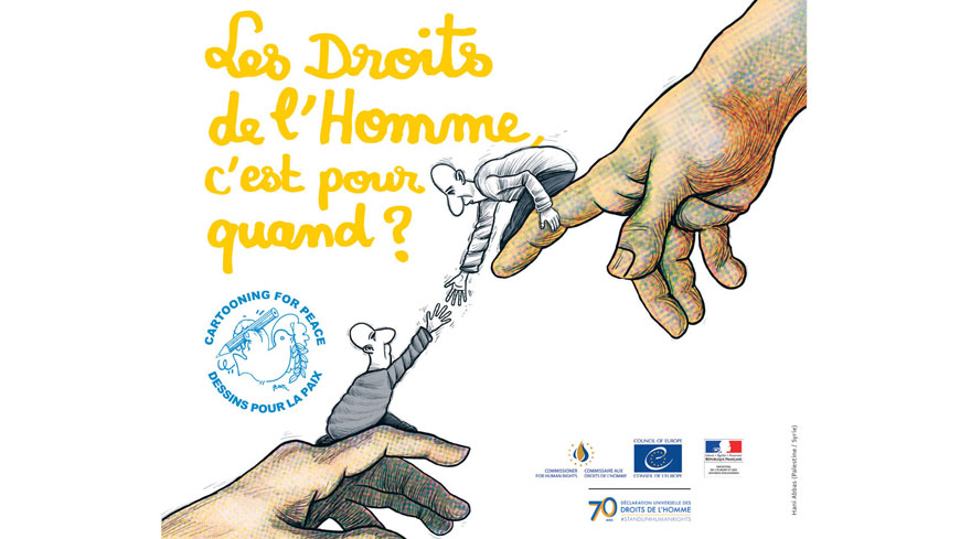 Commissioner for Human Rights Dunja Mijatović, the French Ministry for Europe and Foreign Affairs and Cartooning for Peace present a preview of the exhibition