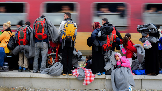 Refugees and migrants in Gevgelija waiting for the next northbound train ©Tomislav Georgiev