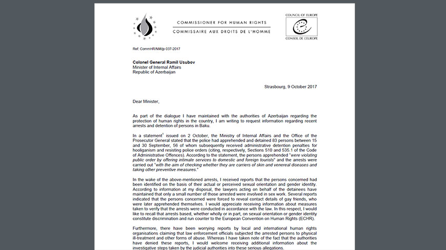 Commissioner urges Azerbaijan to investigate allegations of human rights violations of LGBT persons recently arrested and detained in Baku