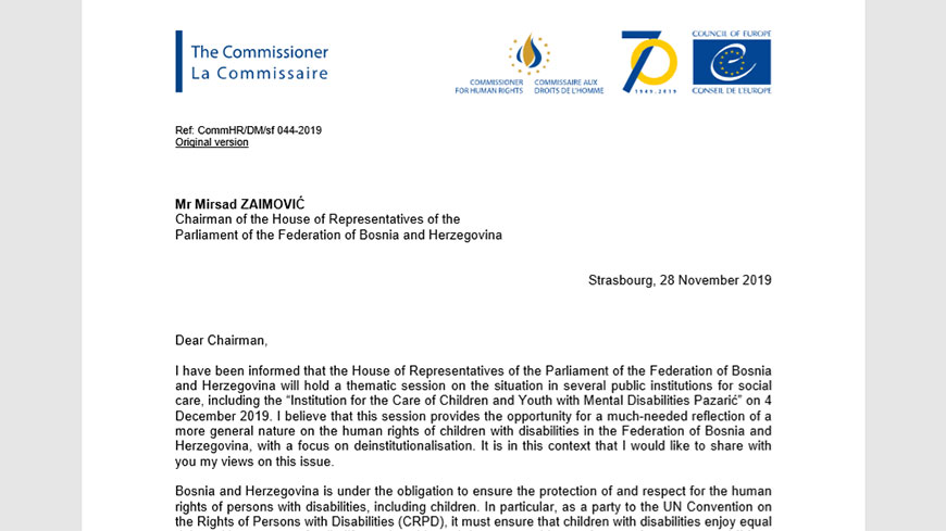 Commissioner encourages the Parliament of the Federation of Bosnia and Herzegovina to adopt measures to move forward on deinstitutionalisation of children with disabilities