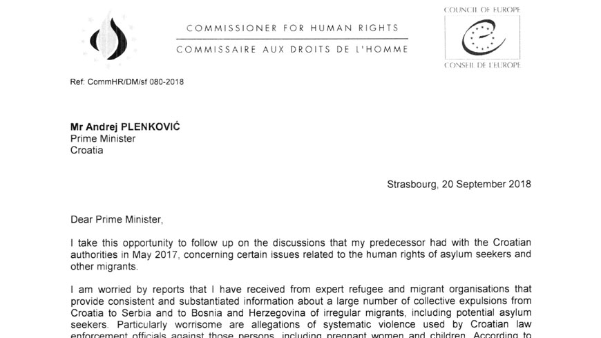 Commissioner calls on Croatia to investigate allegations of collective expulsions of migrants and of violence by law enforcement officers