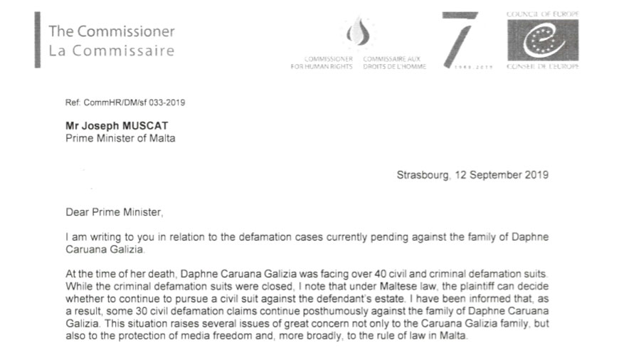 Commissioner calls on Maltese authorities to withdraw posthumous defamation lawsuits against the family of Daphne Caruana Galizia