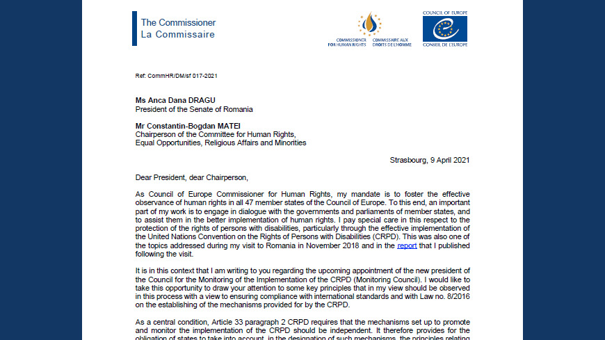 Romania: the appointment of the new leadership of the CRPD Monitoring Council should be an opportunity to strengthen the protection of the rights of persons with disabilities