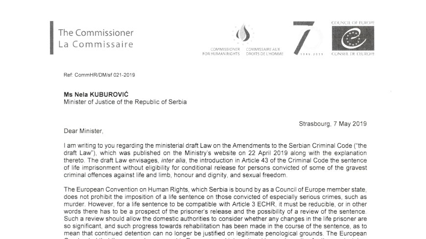 The Commissioner calls on Serbia to ensure that its draft legislation concerning life imprisonment is compliant with the case-law of the European Court of Human Rights