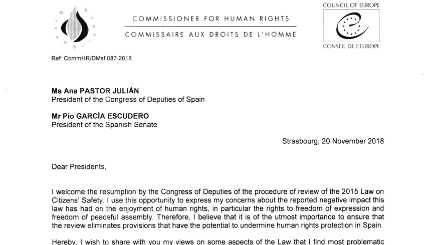 Commissioner urges Spain to ensure that the Law on Citizens' Safety upholds the rights to freedom of expression and freedom of peaceful assembly