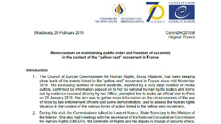 "Maintaining public order and freedom of assembly in the context of the ""yellow vest"" movement: recommendations by the Council of Europe Commissioner for Human Rights"