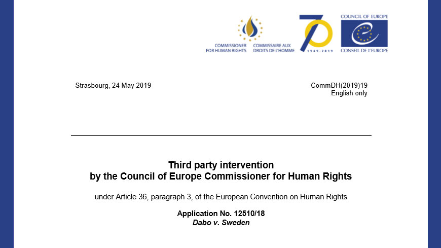 The Commissioner intervenes before the European Court of Human Rights in a case concerning family reunification in Sweden