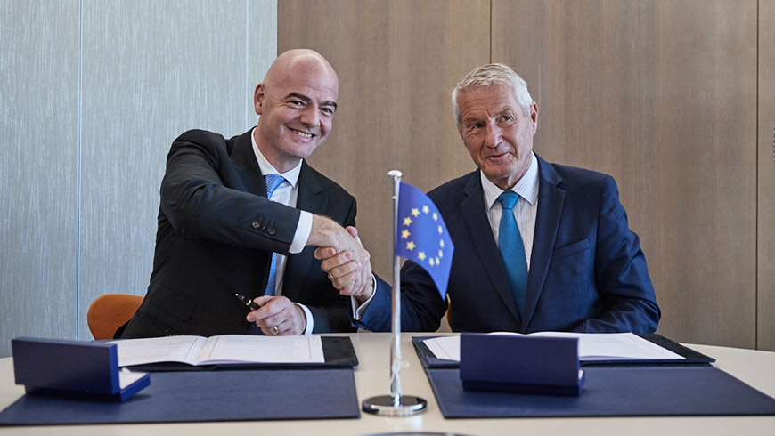 Gianni Infantino and Thørbjorn Jagland