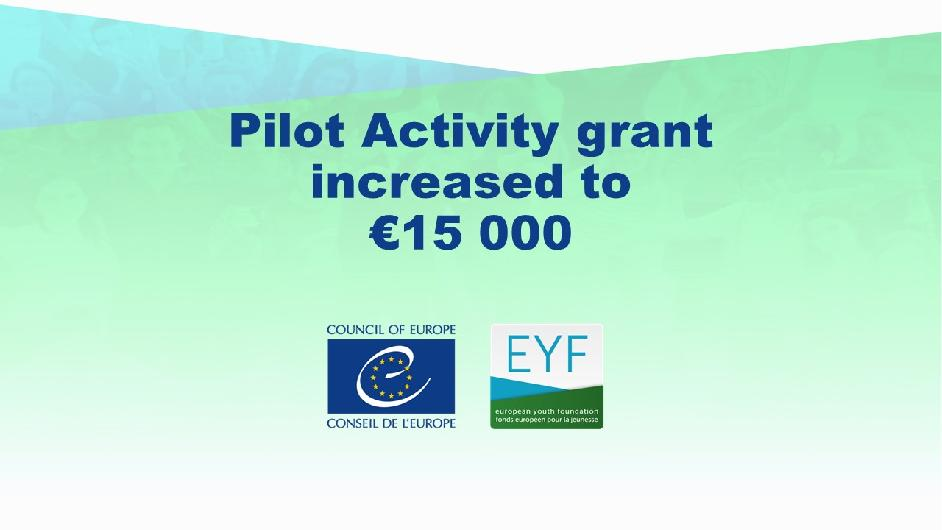 Increase in Pilot Activity grants for projects to be implemented in 2021