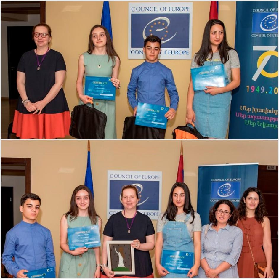70th anniversary of the Council of Europe:  award ceremony for students winners of the essay writing competition