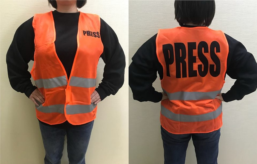 1000 vests produced with the support of the Council of Europe to be distributed among journalists