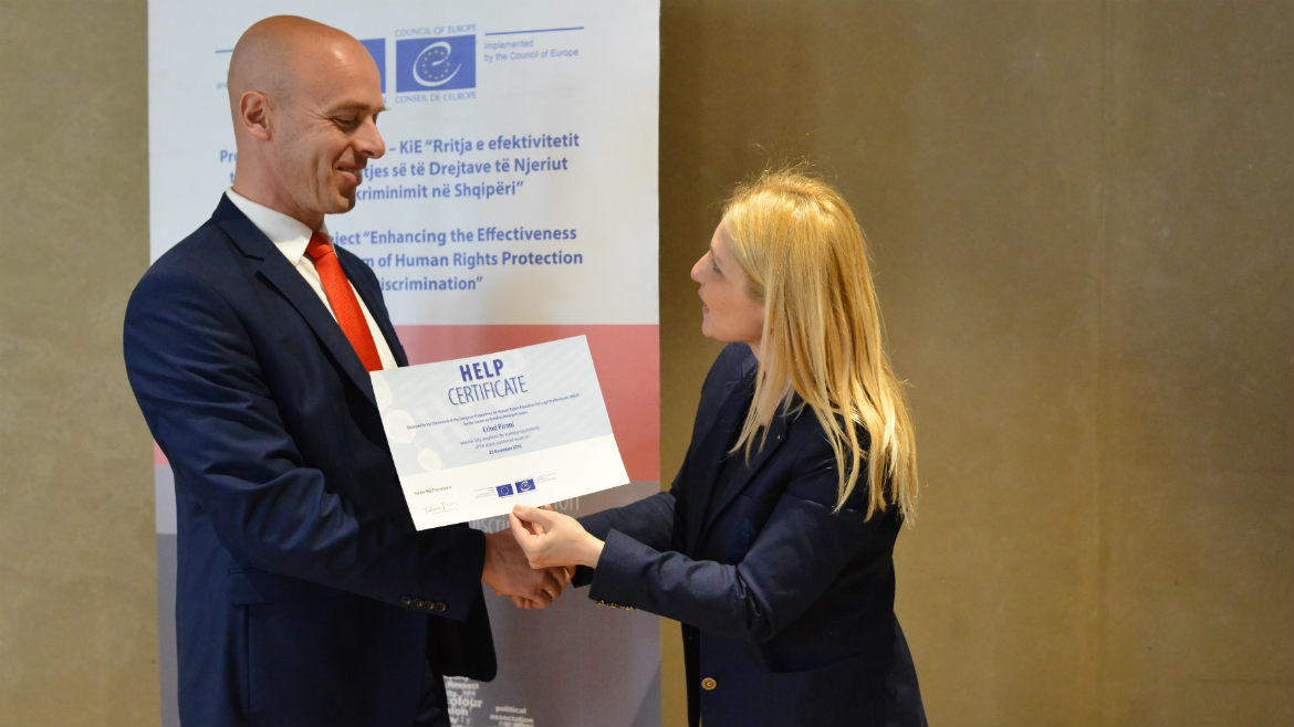 "Council of Europe awards certificates to participants of ""HELP"" anti-discrimination training course"