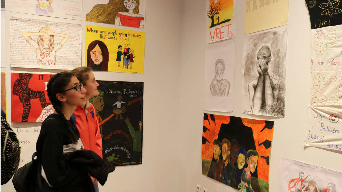 "Students' artwork of 21 pilot schools displayed at the exposition ""A voice against bullying"" in Albania"
