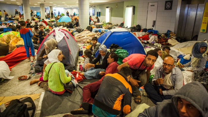 War refugees at Keleti railway station, Budapest, Hungary, 4 September 2015