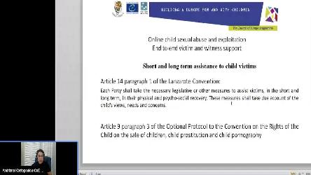 Webinar on Online Child Sexual Abuse and Exploitation for the National Police, Judges and Prosecutors in Ukraine, 5 October 2020
