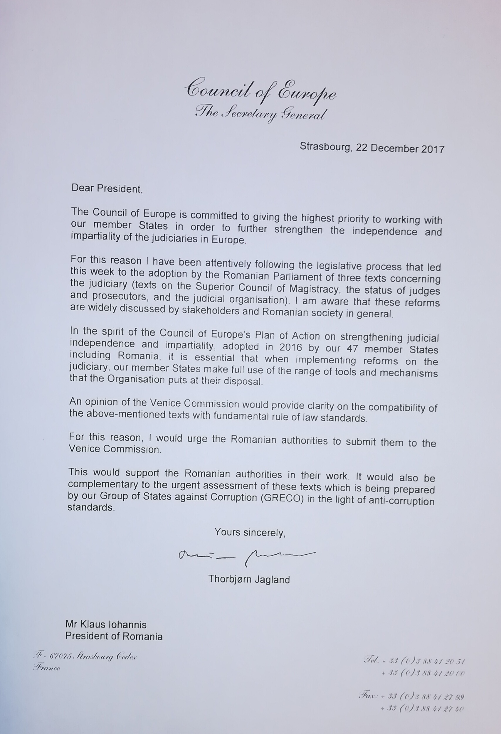 letter to the president of romania klaus iohannis