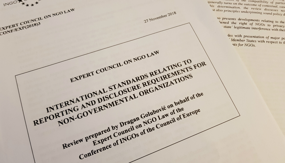 Review on international standards relating to reporting and disclosure requirements for NGOs
