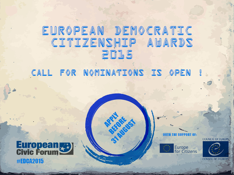 Open Call for Nominations for the Second European Democratic Citizenship Awards