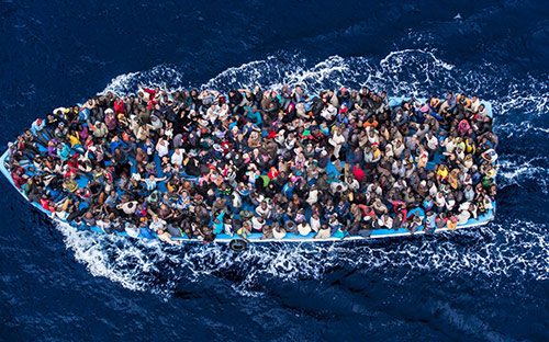 Asylum seekers on the Mediterranean sea, photo: Massimo Sestini